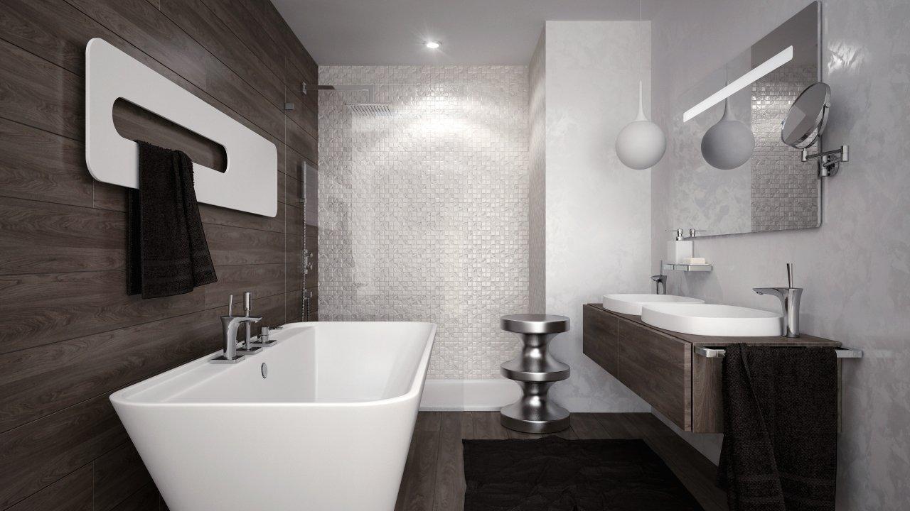 kúpelňa s vaňou a sprchovým kútom