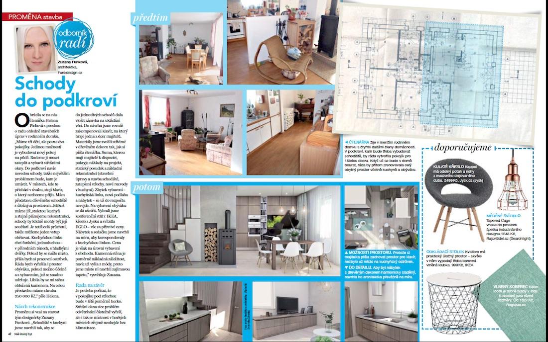 Návrh kuchyne s obývačkou a schodami do podkrovia