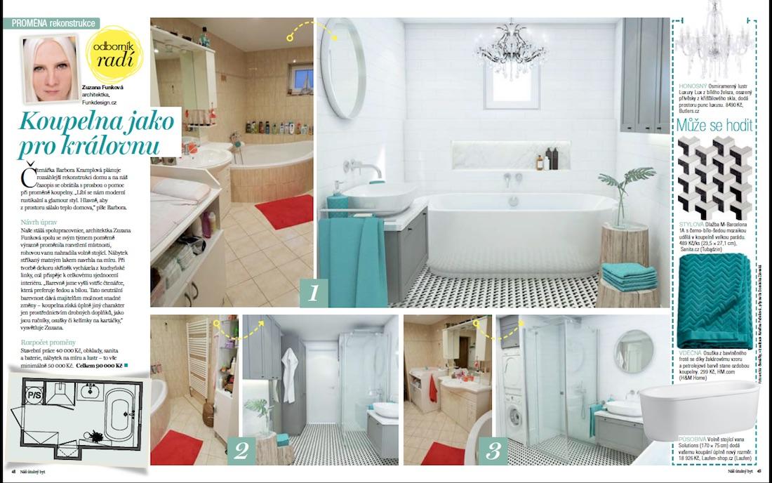 Návrh kúpeľne v povensálskom a glamour štýle.