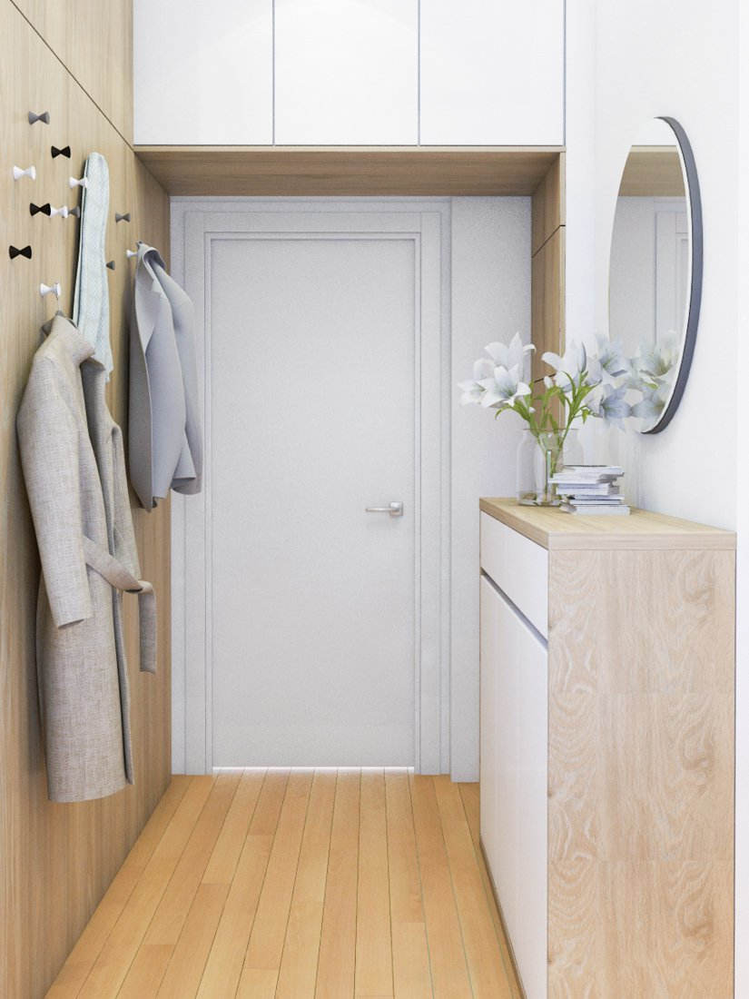biele vchodové dvere s úložným priestorom