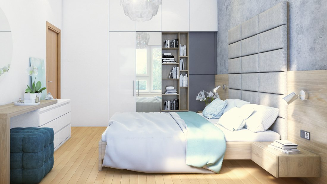 spálňa s úložnými priestormi