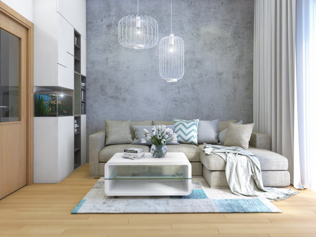 obývačka s betónovou stenou